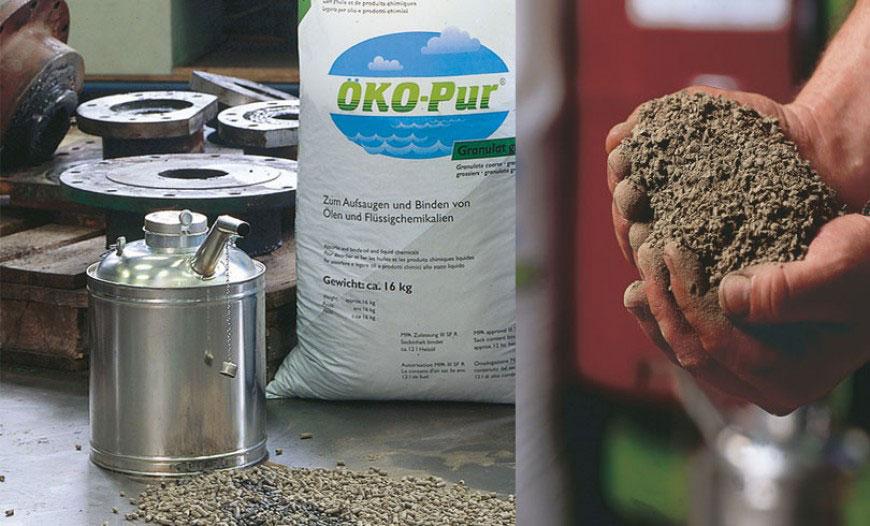 Aufsaugen und Binden von Ölen und Chemikalien
